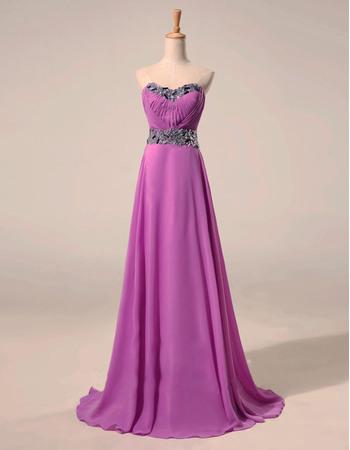 Custom A-Line Sweetheart Sweep Train Chiffon Rhinestone Evening Dress
