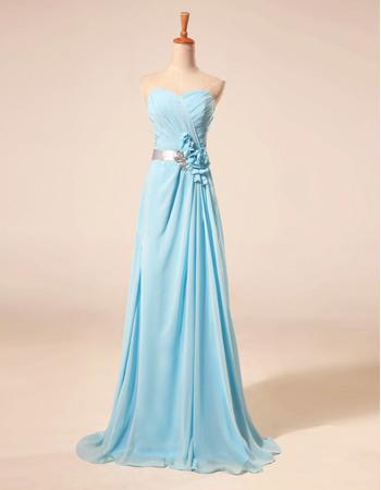 Elegant Sweetheart Floor Length Chiffon Prom Evening Dresses with Belts