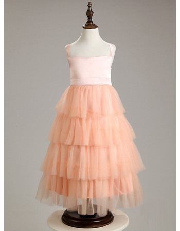Affordable Wide Straps Tea Length Layered Skirt Easter Little Girls Dresses/ Discount Tulle Flower Girl Dresses