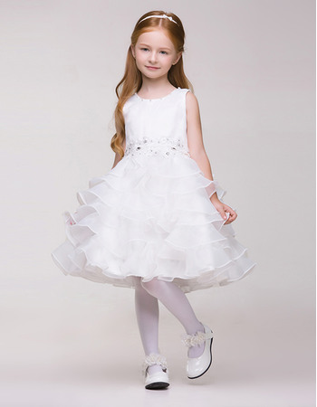 Cute Lovely Short Organza First Communion Flower Girl Dresses with Beaded Waist and Tiered Skirt