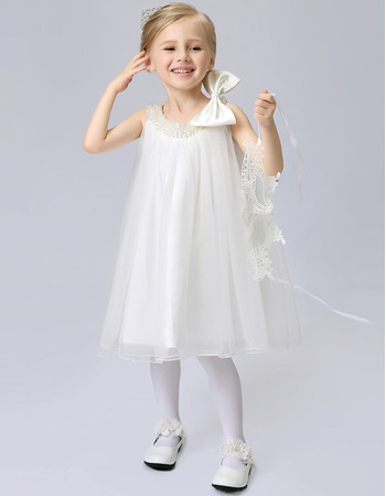 Cute Column Beaded Round-Neck Sleeveless Knee Length Tulle Flower Girl Dresses with Bowknot