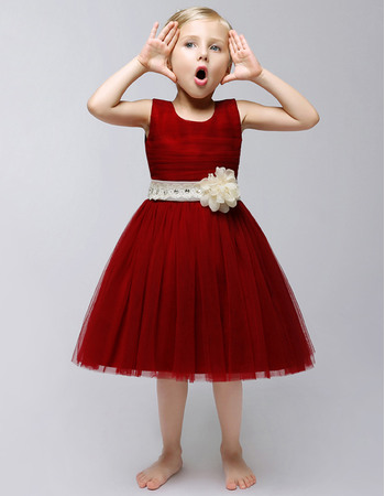 Lovely Ball Gown Round Neck Knee Length Pleated Tulle Flower Girl Dresses with Rhinestone Sashes and Hand-made Flowers