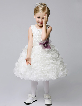 New Style Cute Ball Gown Knee Length Beaded Lace Organza Flower Girl Dresses with Ruffle Skirt