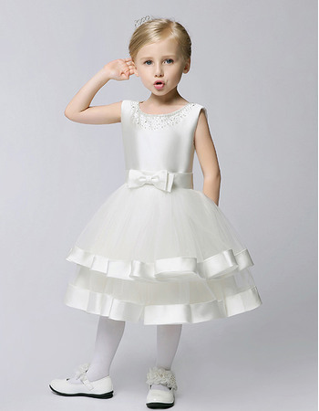 Plain Cute A-line Beaded Neckline Knee Length Satin First Communion Dresses with Layered Tulle Skirt