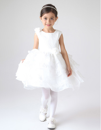 Pretty Ball Gown Short Layered Skirt First Communion Dresses with Appliques/ Lovely Lace ande Organza Flower Girl Dresses with 3