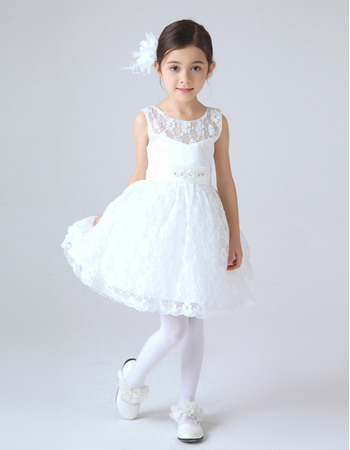 cute illusion neckline short lace first communion dresses with belt and beading u003e