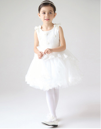 Pretty Couture Ball Gown Lace Tulle Short First Communion Flower Girl Dresses with Bowknot