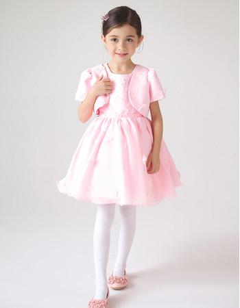 Cute Ball Gown Short Pink Flower Girl Dresses with Short Sleeveless Jackets/ Pleated Skirt Flower Girl Dresses
