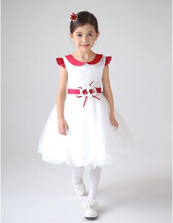 Cute Doll Collar Short Bubble Skirt First Communion Dresses with Flower Waistband