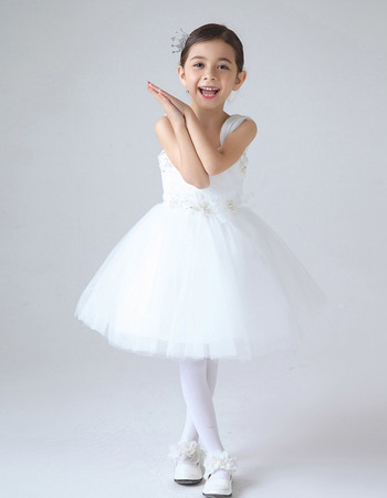 Beautiful Ball Gown Wide Straps Short Tulle First Communion Flower Girl Dresses with Beaded Applique