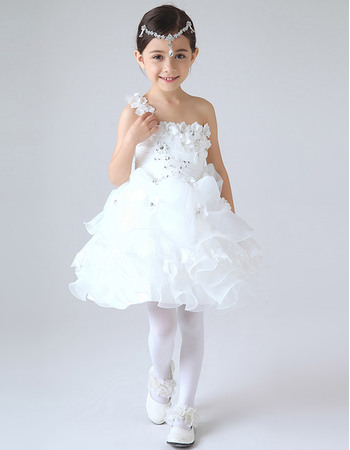 Beautiful Girls First Communion Dresses with Floral Shoulder Strap/ Flower Girl Dresses with Ruffled Tiered Skirt