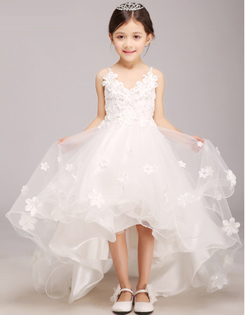 Charming Spaghetti Straps V-neck High-Low Girls First Communion Dresses with Sash/ Asymmetrical Hem Satin and Tulle F