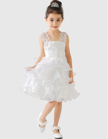 Discount Chic Wide Straps V-Neck Short Layered Skirt Girls First Communion Dresses/ Organza Flower Girl Dresses Under 100 with A