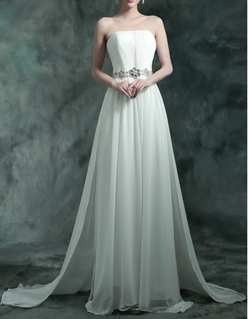 Elegant Strapless Chiffon Pleated Wedding Dresses with Rhinestone Waist and 3D Flowers