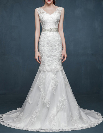 Exquisite Mermaid V-Neck Sweep Train Lace Appliques Wedding Dresses with Beaded Belt
