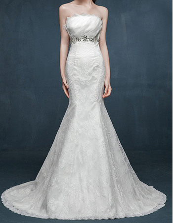 Stylish Mermaid Strapless Sleeveless Sweep Train Lace Wedding Dresses with Ruffled Bust