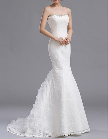 Elegant Sexy Mermaid Beaded Sweetheart Sweep Train Lace Wedding Dresses with Ruffled Skirt