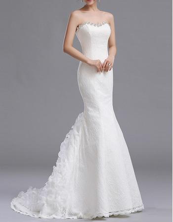 Elegant Mermaid Beaded Rhinestone Sweetheart Lace Wedding Dresses with Ruffled Train