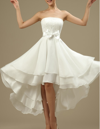 Casual Strapless High-Low Short Chiffon Reception Wedding Dresses with Bow and Lace Bust