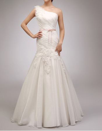 Romantic Stylish Trumpet One Shoulder Full Length Organza Wedding Dresses with 3D Rose Flowers