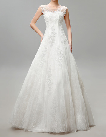 Vintage A-Line Bateau Neckline Tulle Over Lace Wedding Dresses with Keyhole and Beading Appliques