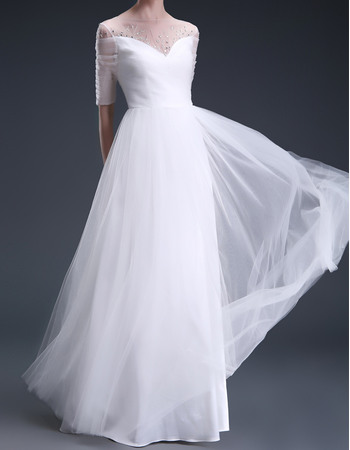 Elegant Beaded Illusion Neckline Ruched Tulle Wedding Dresses with Half Sleeves