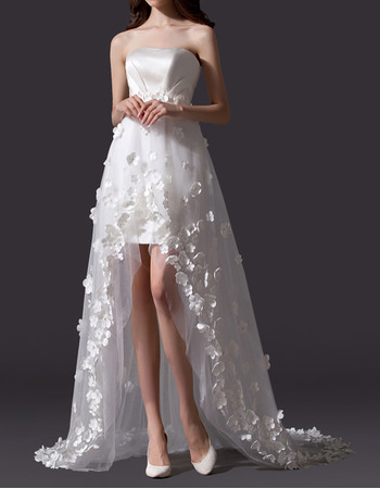Romantic Strapless High-Low Wedding Dresses with All Over Floral Applique Tull Skirt