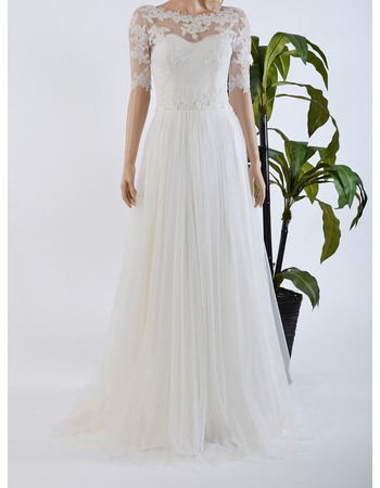 Elegant Floor Length Tulle Half Sleeves Wedding Dresses with Appliques/ Pleated Skirt Bride Gowns for Spring