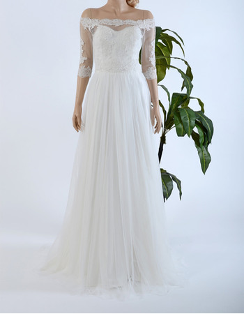 Inexpensive Off-the-shoulder Tulle Over Satin Wedding Dresses with 3/4 Sleeves