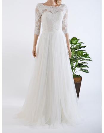 Elegant Illusion Neckline Tulle Over Satin Wedding Dresses with Appliques Bodice