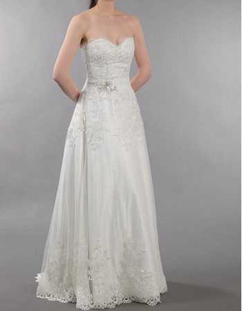 Perfect Sweetheart Full Length Tulle Over Satin Wedding Dresses with Beaded Appliques