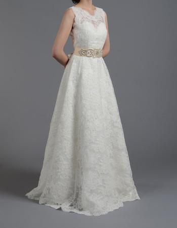 Vintage Illusion Neckline Lace Wedding Dresses with Crystal Beaded Belt