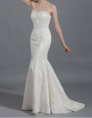 Discount Lovely Mermaid/ Trumpet Sweetheart Ivory Lace Wedding Dresses/ New Arrival Court Train Garden Bride Gowns