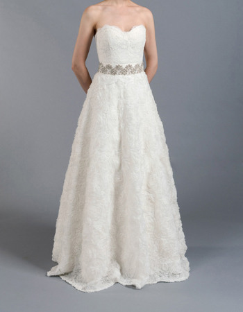 Discount Romantic A-Line Sweetheart Full Length Lace Floral Wedding Dresses with Beaded Waist/ Garden Bride Gowns for Spring
