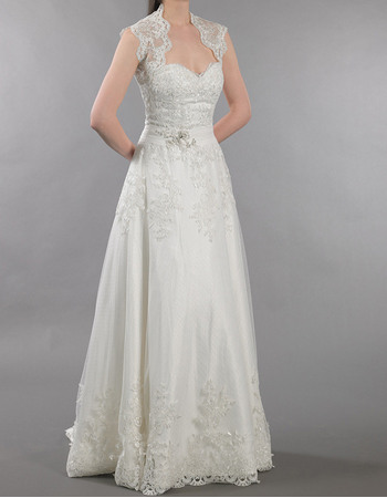 Sexy A-Line Sweetheart Beaded Lace Appliques Tulle Wedding Dresses With Open Back
