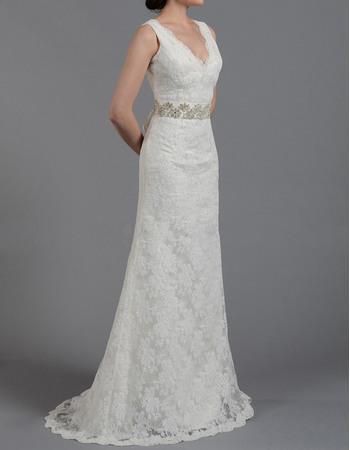 Elegant Sheath Double V-Neck Sleeveless Full Length Lace Wedding Dresses with Beaded Waist