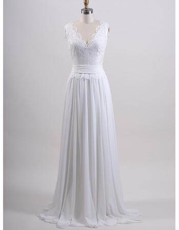 Graceful Column Double V-Neck Chiffon Wedding Dresses with Lace Bodice and Scalloped Trim