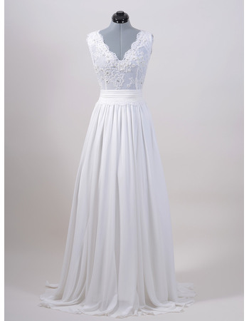 Sexy Double V-Neck Full Length Wedding Dresses with Beaded Applique llusion Bodice