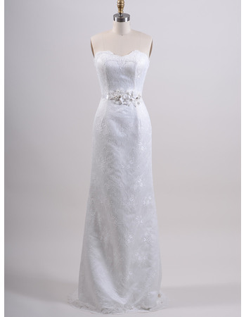Romantic Sheath Sweetheart Full Length Lace Wedding Dresses with Floral Applique Belt