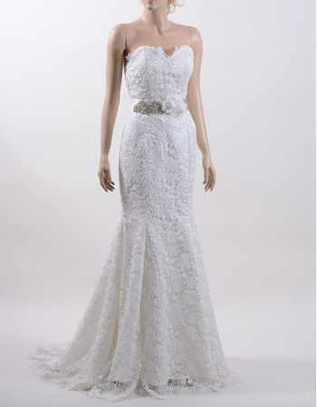 Romantic Mermaid Sweetheart Sweep Train Lace Wedding Dress with 3D Flower Waistband