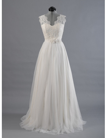 Elegant Double V-Neck Sweep Train Appliqued Tulle Wedding Dresses with Flower Waistband