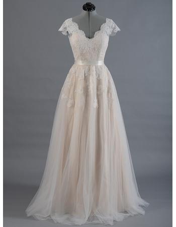 Elegant Double V-Neck Full Length Appliqued Tulle Wedding Dresses with Short Sleeves