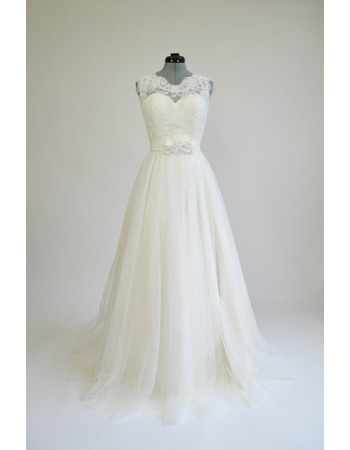 Discount V-back Tulle Wedding Dress with 3D Flower Waistband and Lace Bodice