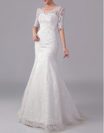 Modern Mermaid V-Neck Lace Wedding Dresses with Half Sleeves and Low Back
