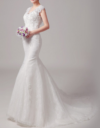 Luxury Beading Appliques Mermaid Court Train Lace Wedding Dresses with Sexy Open Back