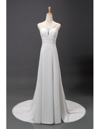 Elegant A-Line Beaded Spaghetti Straps Court Train Chiffon Wedding Dresses/ Ivory Long Beach Bride Dresses