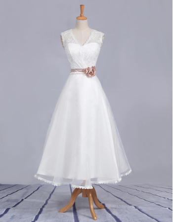 Affordable A Line V Neck Tea Length Satin Lace Beach Wedding Dresses With Belts Simple Reception Bridesmaid Gowns