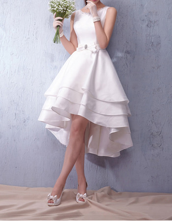 Modern A-Line Open Back High-Low Taffeta Tiered Skirt Wedding Gowns/Bride Dresses with Belts ande Beaded