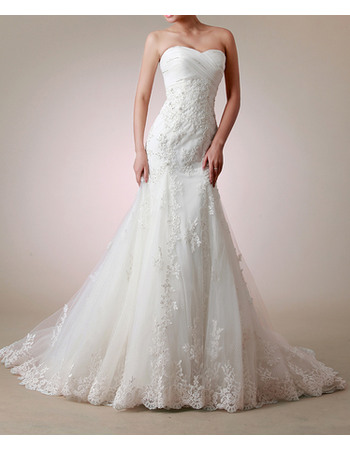 Elegantly Mermaid Criss Cross Sweetheart Tulle Wedding Dresses with Appliques Beaded