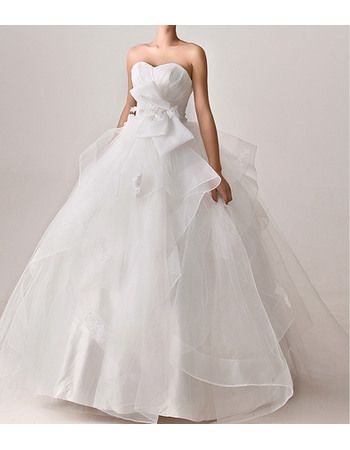 Sophisticated Ball Gown Sweetheart Organza Wedding Dresses with Big Bow and Ruched Bodice